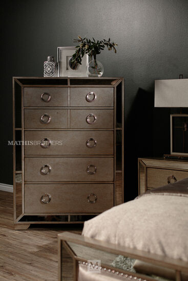 "62"" Five-Drawer Contemporary Chest in Silver"