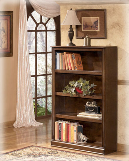 Three-Shelf Traditional Bookcase in Medium Brown