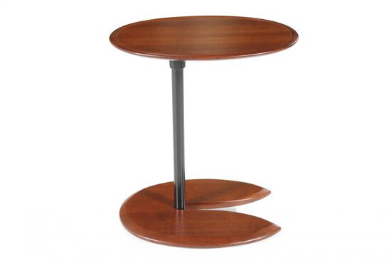 Eliptical Transitional End Table in Walnut