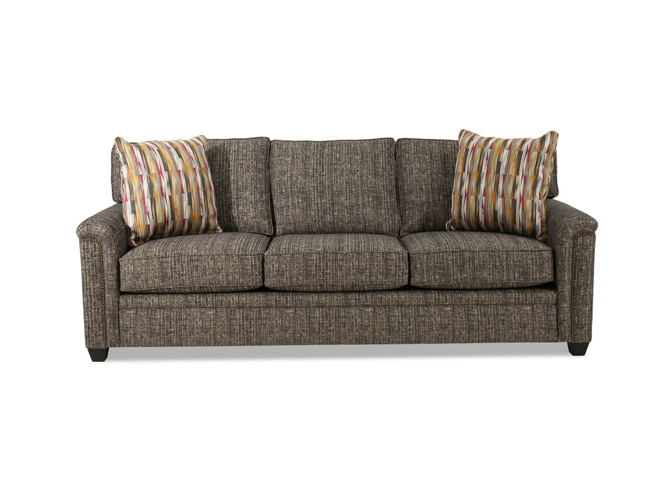nailhead accented 92 sofa in gray mathis brothers furniture. Black Bedroom Furniture Sets. Home Design Ideas