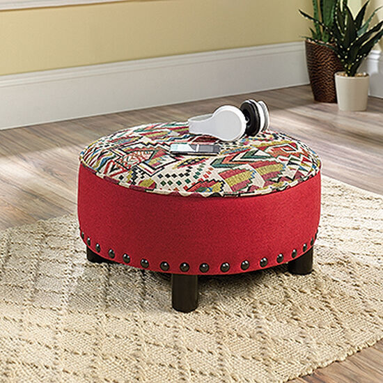 """Nailhead Accented Contemporary 22"""" Ottoman in Red"""