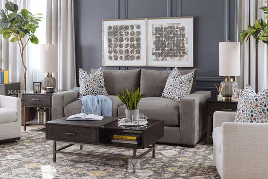"87"" Contemporary Straight Arm Sofa in Gray"