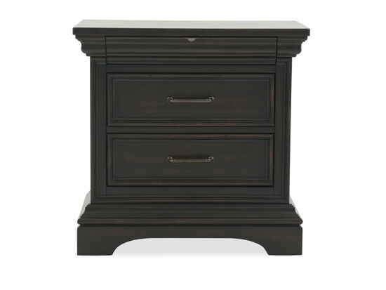"29.5"" Traditional Distressed Three-Drawer Nightstand in Black"