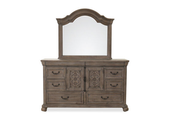 Two-Piece European Classic Dresser and Mirror in Dove Tail Gray