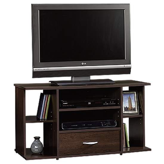 Adjustable Shelf Casual Panel TV Stand in Cinnamon Cherry