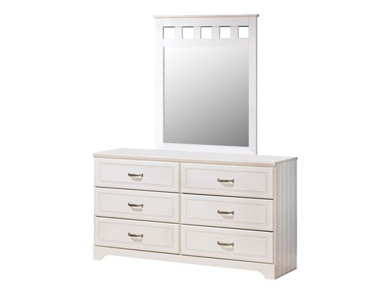 Six-Drawer Casual Youth Dresser in White