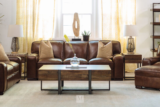 """Traditional 93"""" Leather Sofa in Brown"""