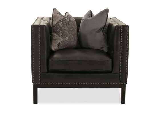 """Nailhead-Accented 35"""" Leather Chair in Slate"""