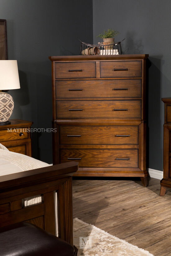"""57"""" Contemporary Six-Drawer Chest in Brown"""