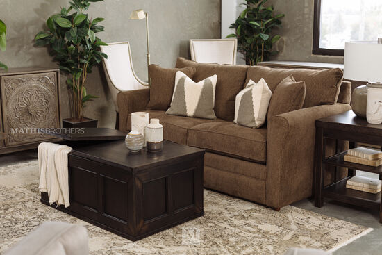 "73.5"" Casual Full Sleeper Sofa in Caramel"