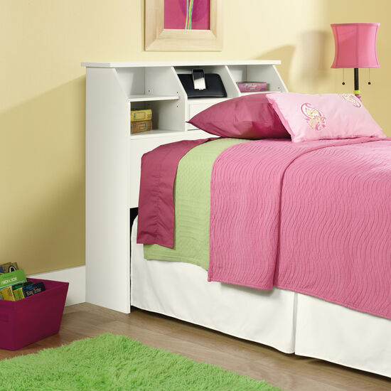 Casual Twin Youth Bookcase Headboard in Soft White