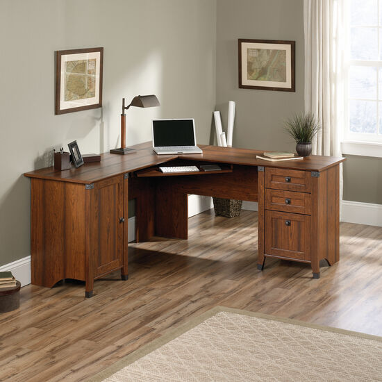 "66"" Traditional Three-Drawer Corner Computer Desk in Washington Cherry"