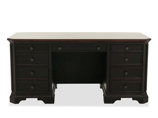 Eight-Drawer Wood Executive Desk in Dark Brown