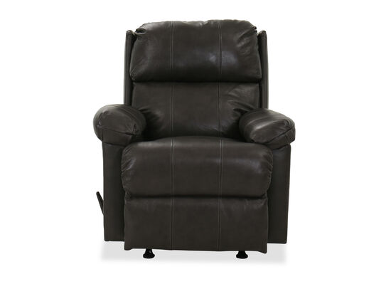 "35"" Leather Rocker Recliner in Granite"
