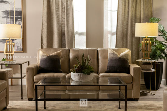 """Leather Tufted 82"""" Sofa in Beige"""