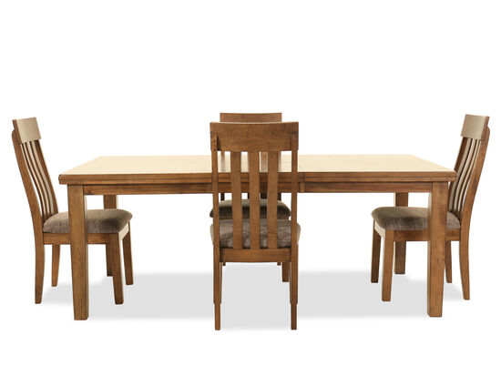 Five-Piece Casual Rectangular Dining Set in Light Brown
