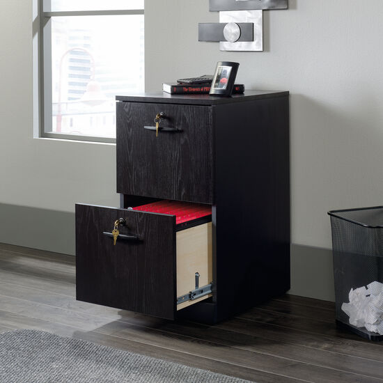 Two-Drawer Contemporary Pedestal File in Bourbon Oak