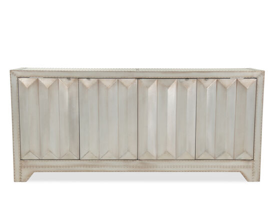 Pyramid Textured Contemporary Four-Door Credenza in Silver