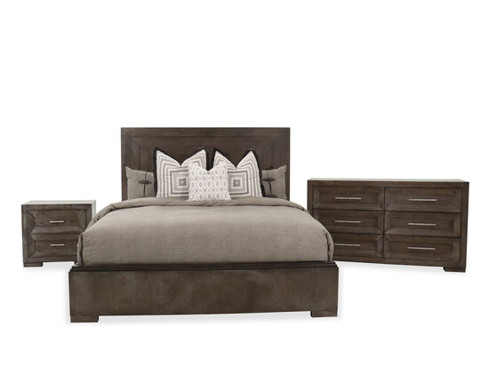 Three-Piece Wood King Bed Set in Brown
