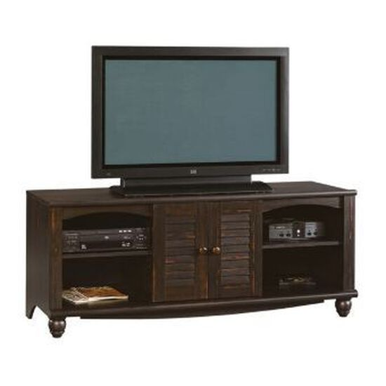 Louvered Doors Country Entertainment Credenza in Rich Coffee Bean
