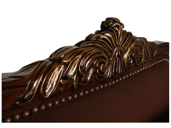 """Carved Tradtional 33"""" Velvet Chair in Brown"""