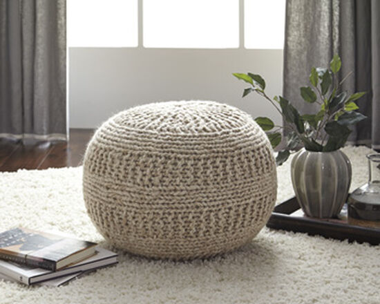 "Rib Knit Casual 14"" Pouf in Brown"