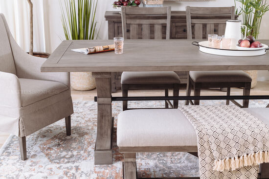 """Traditional 84"""" Trestle Dining Table in French Gray"""