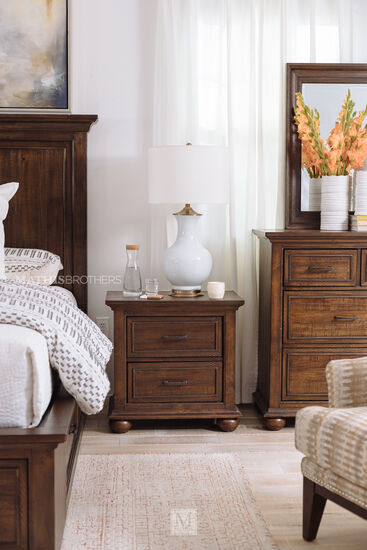 """27"""" Transitional Two-Drawer Nightstand in Dark Brown"""