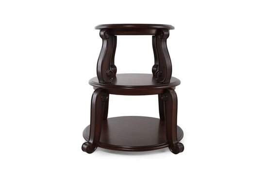 Traditional Fountain-Shaped Drum Table in Brown