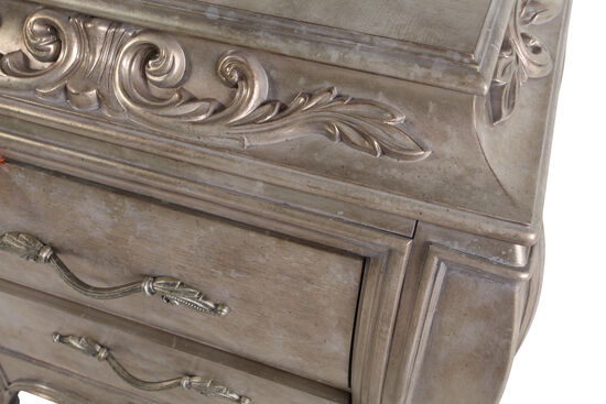 "32"" Contemporary Carved Nightstand in Silver"