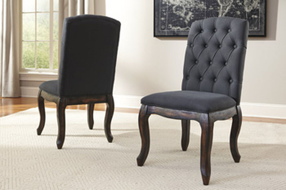 Solid Wood 20 Side Dining Room Chair In Dark Gray