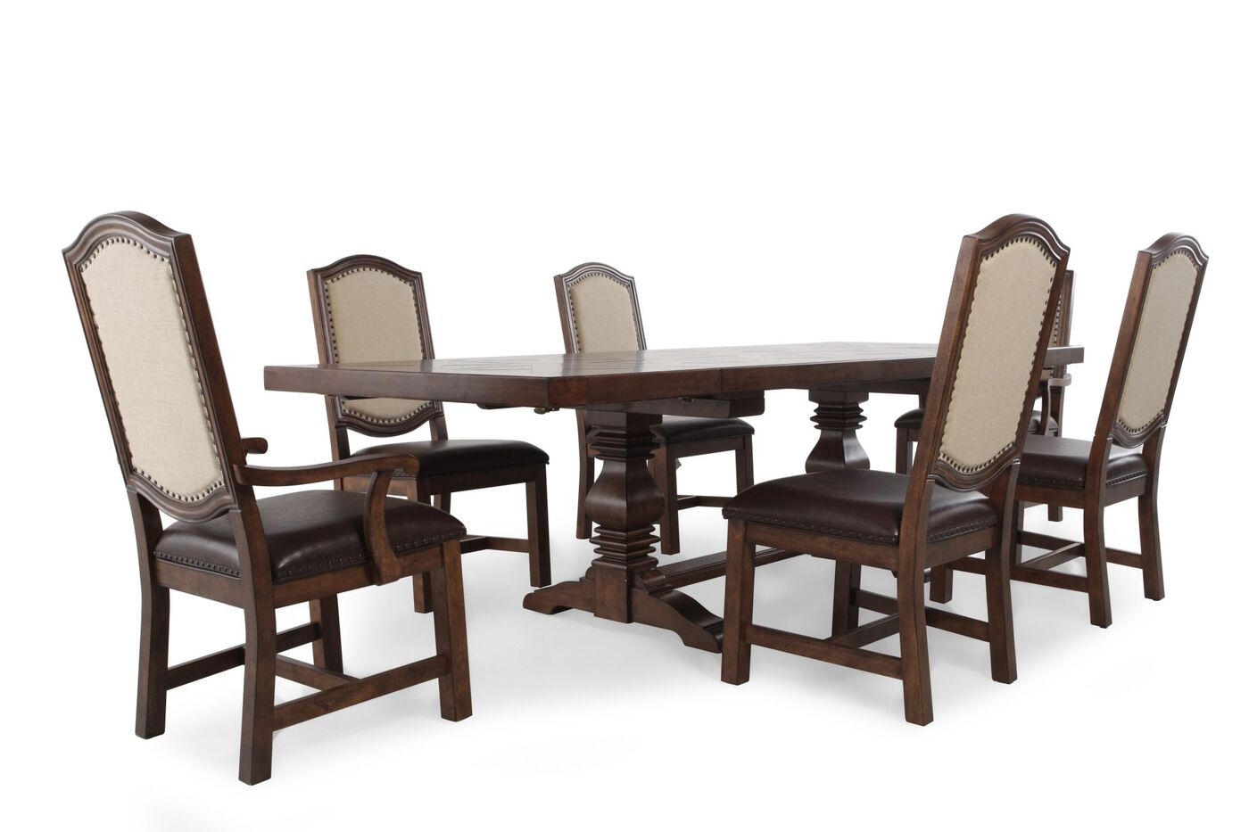 Seven Piece Traditional 72 To 108 Dining Set In Light