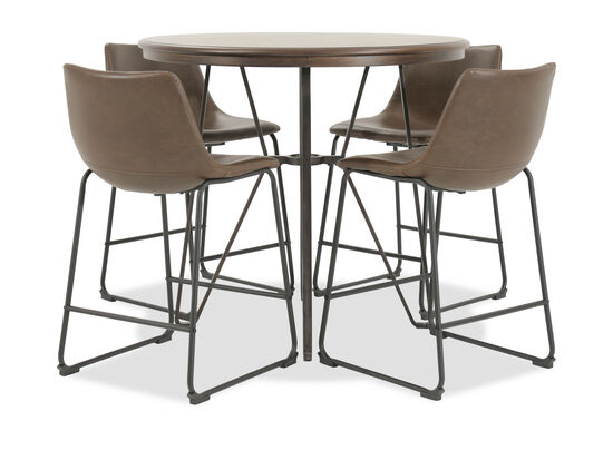 Five-Piece Mid-Century Modern 40'' Round Pub Dining Set in Brown