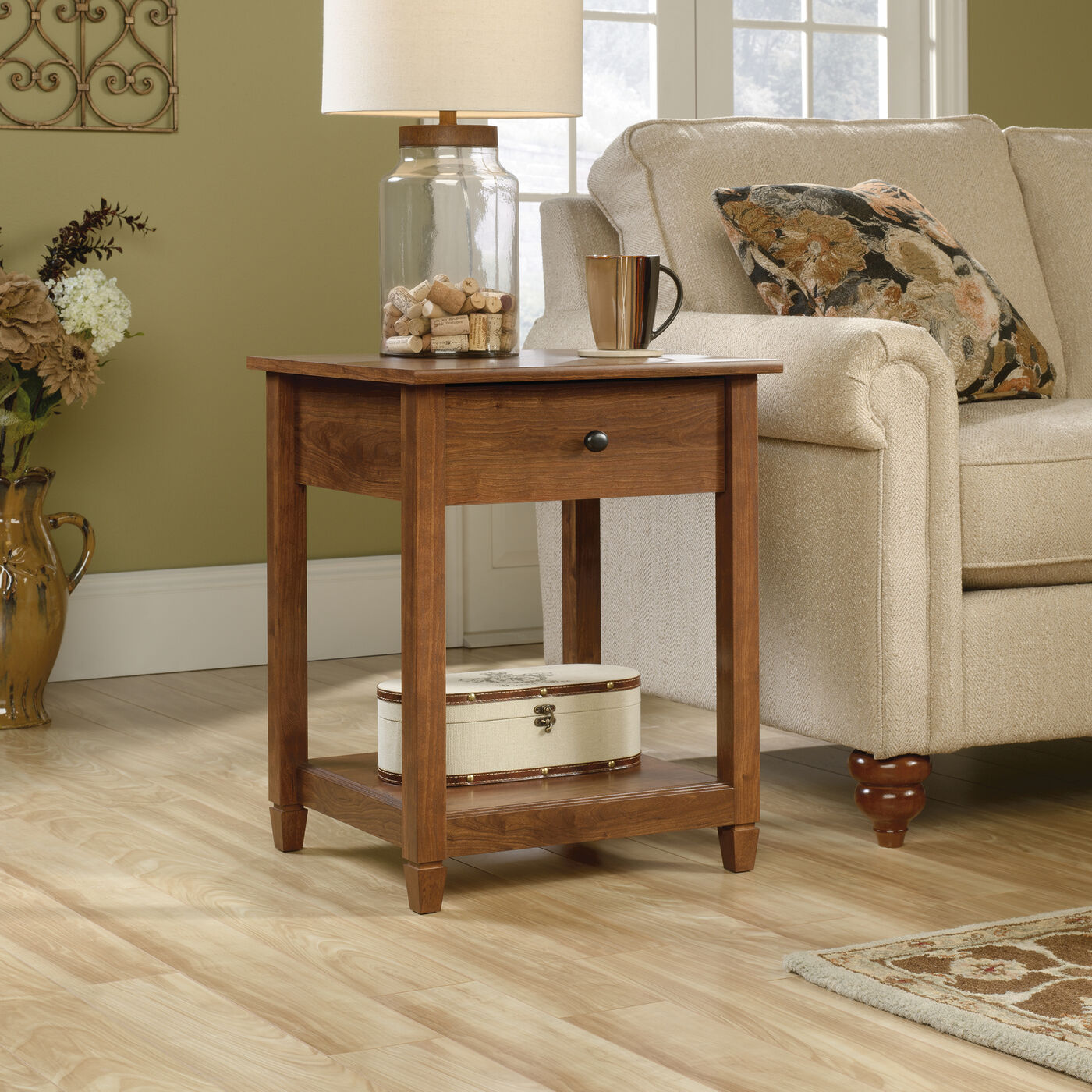 cherry wood end tables living room one drawer solid wood side table in auburn cherry mathis 24632