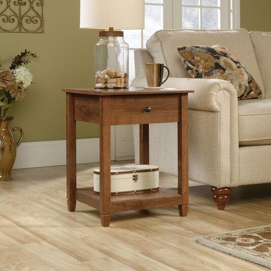 One-Drawer Solid Wood Side Tablein Auburn Cherry