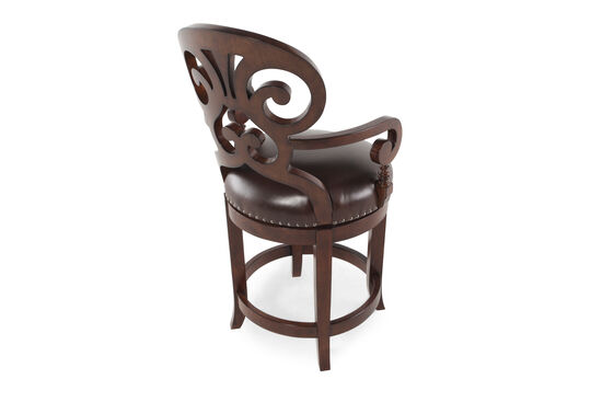 """Nailhead Accented 41"""" Leather Bar Stool in Dark Brown"""