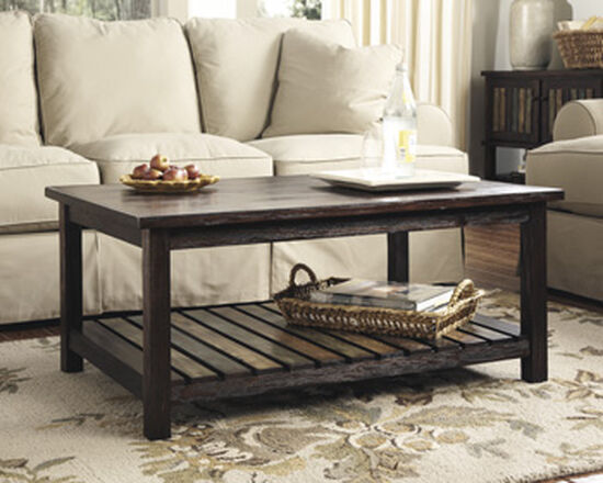 Rectangular Slat Shelf Cocktail Table in Rustic Brown