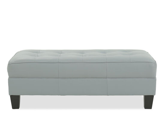 """Tufted Contemporary 24"""" Leather Ottoman in Light Blue"""