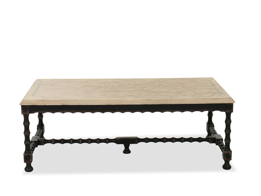 Casual Rectangular Cocktail Table In Flaky White Mathis Brothers Furniture