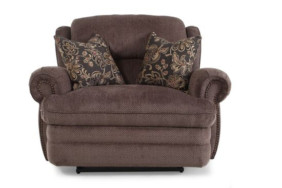 "Nailhead Accented Traditional 52"" Reclining Snuggler in Mink"