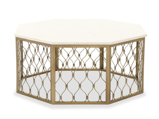 Octagon Contemporary Cocktail Table in Satin Brass