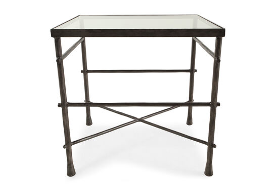 Glass-Top Transitional End Table in Gunmetal Gray