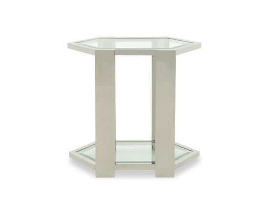 Tempered Glass Transitional End Table in White