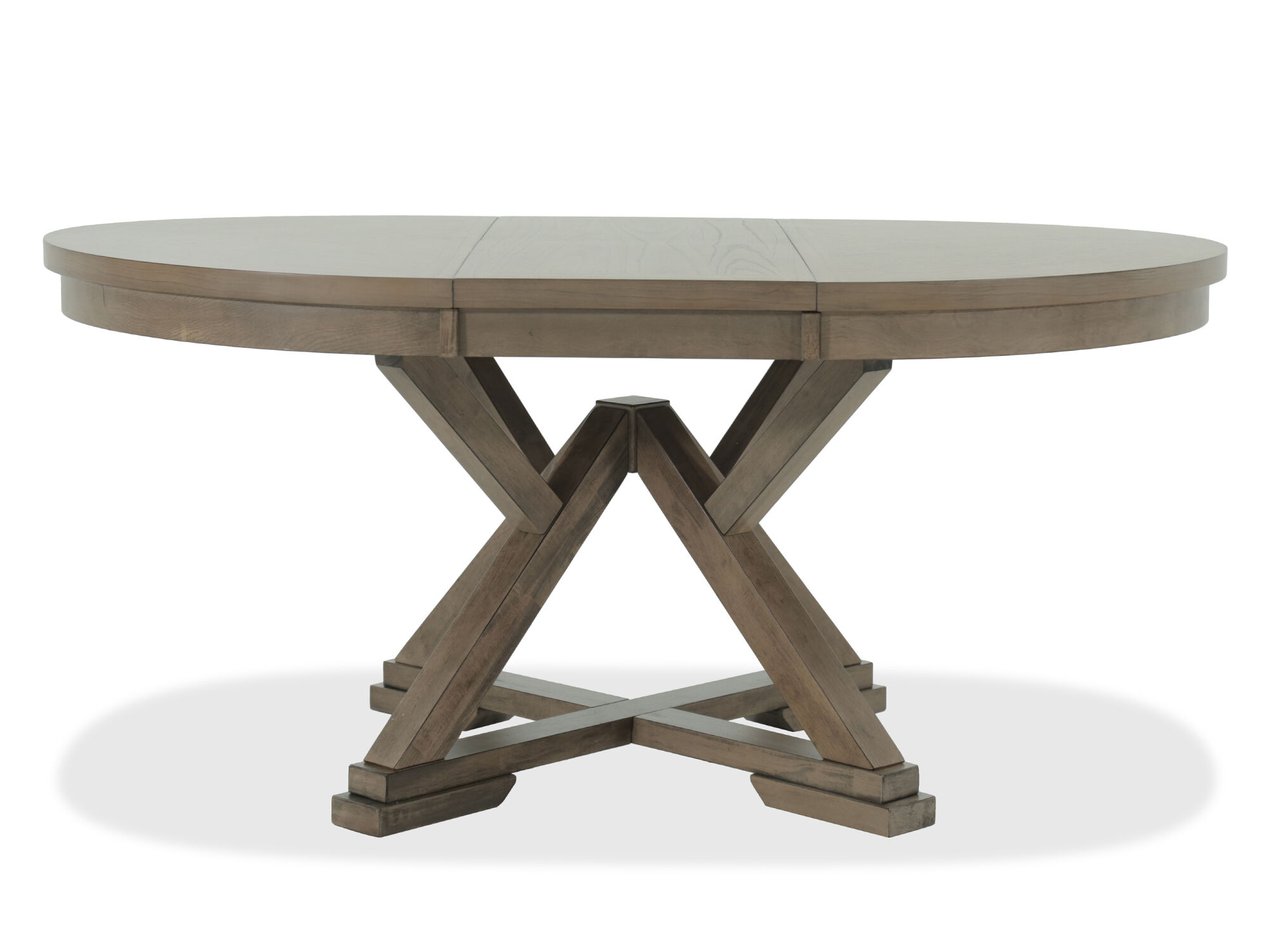 ... Casual 66u0026quot; Expandable Round Pedestal Table In Medium ...