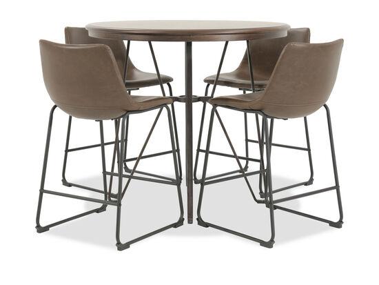 Five-Piece Mid-Century Modern 40'' Round Pub Dining Set in Brown