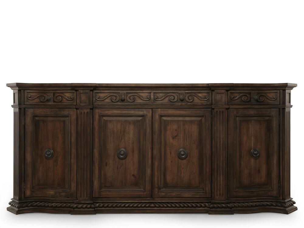 """Scroll Accented 96"""" Credenza in Brown"""