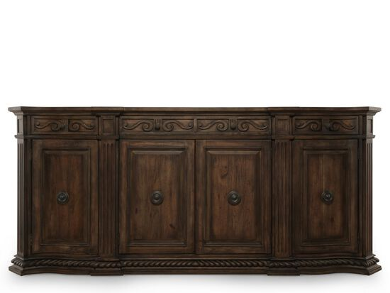 "Scroll Accented 96"" Credenza in Brown"