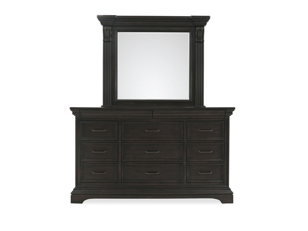 Two-Piece Distressed Dresser and Mirror in Black