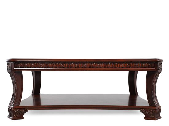 Open-Shelf Traditional Cocktail Table in Stained Cherry