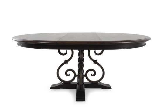 """Traditional 54"""" to 72"""" Scrolled Pedestal Round Dining Table in Dark Macchiato"""